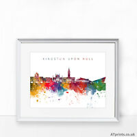HULL skyline Print Poster Watercolour Framed Canvas Wall Art city Belgium