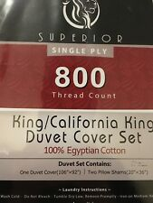 Superior 800 Thread Count Single Ply King Duvet Cover Set