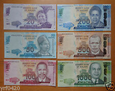 Malawi Paper Money Set of 6 Pieces 2012 New Edition UNC