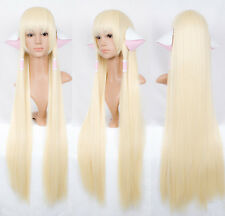 Chobits Chii Cosplay Perücke wig perruque parrucca glatt lang blond Ohr Haar