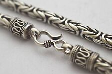 """Solid 925 Sterling Silver Bali Chain / Byzantine Necklace, 57g, 5mm, 16"""", 40cm"""