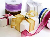 """1.5"""" wide x 10 yards WIRED Satin Edge ORGANZA RIBBON Wedding FAVORS Bows Sewing"""