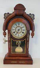 Antique 8 Day New Haven Teardrop Parlor Clock Walnut Brass Trim 1800s Works
