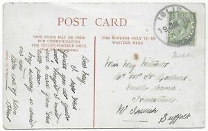 1916 ISLIP NORTHANTS rubber skeleton pmk KGV 1/2d Thorpe Achurch PPC