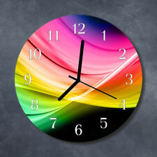 Glass Wall Clock Kitchen Clocks 30 cm round silent Abstract Lines Multi-Coloured