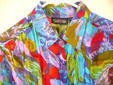 Vtg 90S Thin 100% Cotton Artsy Floral Oversized M Or L Xl Reg Blouse Shirt Women