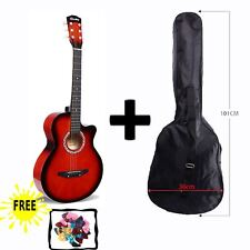 "RED Acoustic Guitar Package 3/4 Size 38"" Beginner Student Adult+Picks+Bag"