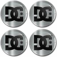4 x 60mm Autocollant 3D Cache-Moyeux Enjoliveurs Centre de Roue DC Logo Stickers