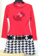 Girls Red White Pinky Scotty Dog Houndstooth Pageant Casualwear Dress Sz 5 NEW
