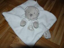 A saisir doudou/peluche plat ours blanc et gris avec attache tétine nicotoy