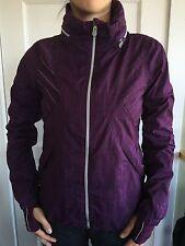 Lululemon Size 6 Run Hustle Jacket Burgundy Red Plaid Ruffle Downtime Studio EUC