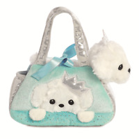 Fancy Pal Peek-a-Boo Puppy Soft Plush Toy with Silver Turquoise Carrying Bag