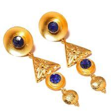 Lapis Lazuli Round Gemstone Gold Plated Handmade Carving Drop Dangle Earrings
