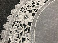 "2 Pieces 16"" Embroidered Lace Organza Jeweled Doily Doilies White Silver Wedding"
