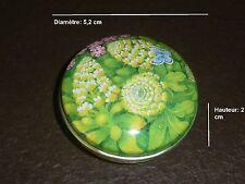 824  Boite vide à bonbons ou pilules en métal D 5,2 cm * H 2 cm