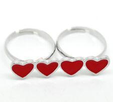 10PCs BD Enamel Red Love Heart Two Fingers Double Rings Adjustable 18.3mm US 8