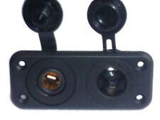 2 x Power Sockets (Standard 20A + Hella 15A) - Marine Quality - Twin Mount Plate