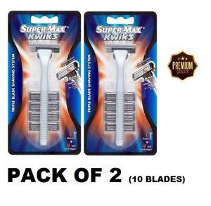 3 Triple Blade Shaving System SUPERMAX KWIK  Disposable Razor With 4 Cartridges