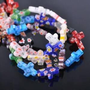 10pcs Mixed 18x13mm Cross Shape Millefiori Glass Loose Beads Wholesale lot