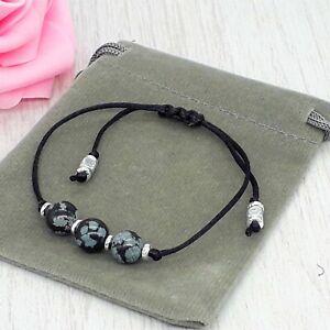 Handmade Natural Snowflake Obsidian Crystal Healing Gemstone Cord Bracelet 6/8mm
