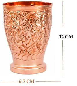 Pure Copper Handmade Leaf Design Drinking Water Glass Tumbler For Health Benefit