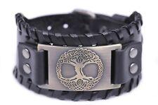 Pagan Tree of Life YGGDRASIL Talisman Wide Leather Bracelets Viking Jewelry