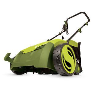 Sun Joe AJ801E Electric Lawn Dethatcher + Scarifier w/ Collection Bag   13 inch