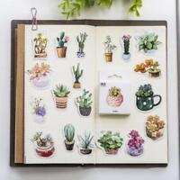50pcs Paper Stickers Cactus Plants Succulent Diaries Planners Scrapbooking DIY