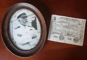R.M.S. TITANIC Capt. E.J. Smith signed Seamen's Discharge Document Majestic 1896