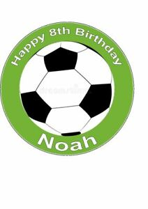 7.5 inch Personalised Edible Icing Cake Topper Happy Birthday Football Team