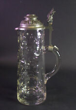grosser Glaskrug um 1890 - Zinndeckel mit Zwergenknauf - 2 Liter / 34cm