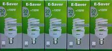 5x E-Saver, Energy Saving CFL Light Bulbs, Spiral, 20w, Daylight, B22 Bayonet