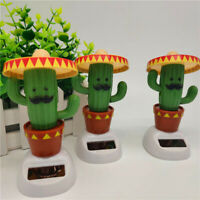 Cute Solar Powered Bobble Head Dancing Toy Car Dashboard Ornament Cactus