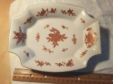 Gold Leaf Red Flowers, 8 sided square Dish, Red on Gold Lotus, LF on bottom