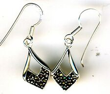 """925 Sterling Silver Marcasite Small Drop Earrings Length 1.1/5"""""""