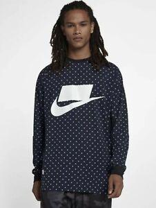 Nike Sportswear Block Logo Long Sleeve Shirt Blue/White Men's 930325 MEDIUM $75