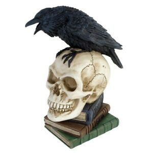 ALCHEMY POE'S RAVEN Gothic Edgar Allan Poe Bird, Skull, Books Ornament 20cm Tall