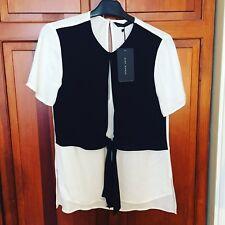 Stunning ZARA White Black Front Waistcoat TShirt Top - S