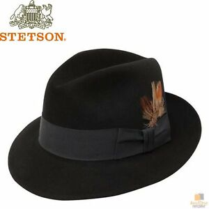 STETSON Saxon Fur Felt Fedora Premium Royal Dress Hat Sovereign 100% Wool STF7