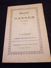 Partition Recueil de Danses pour piano T Humbert Music Sheet