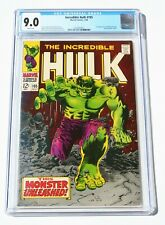 CGC 9.0 INCREDIBLE HULK #105 * 4th Issue * 1968 * Marvel Comics * White Pages!
