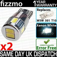 2x 6 SMD LED w5w t10 501 WHITE CANBUS ERROR FREE ALUMINIUM BODY 9-30v BULBS