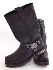 Genuine HARLEY DAVIDSON Black Leather Motorcycle Boots in UK Size 7 - K3