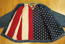 Tommy Jeans Denim Jacket M/M American Flag Lined Stars Stripes Blue Coat Vtg Men