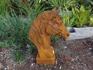 Rusty Cast Iron Horse Head Garden Ornament Statue