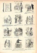 Paris Livre la Bêtise Humaine Vérité en riant Dessin du Baron Griff GRAVURE 1882