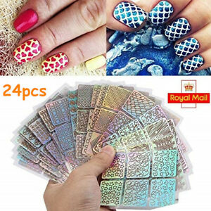 24 Sheets 3D Nail Art Tip Guide Vinyl Stencil Sticker Manicure Hollow Decal Tool