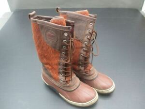 SOREL SIZE 8 WOMENS BROWN RUBBER BOMBAY TALL LACE WINTER RAIN SNOW BOOTS 4B