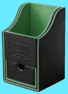 DRAGON SHIELD NEST PLUS 100 BLACK / GREEN CARD STORAGE BOX dice compartment case
