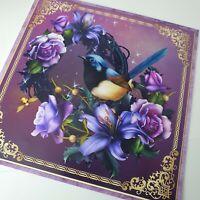 Handmade beautiful purple roses blue fairy wren bird birthday card any occasion